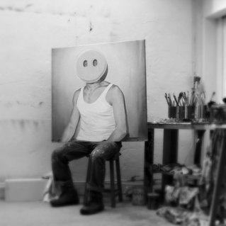 Studio view with 'Selfportrait as emoticon'